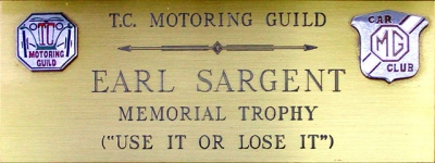Earl Sargent Memorial Trophy Plaque