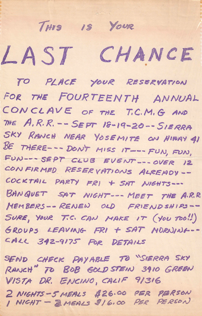 Flyer promoting the 1970 TCMG / ARR Conclave at Sierra Sky Ranch.