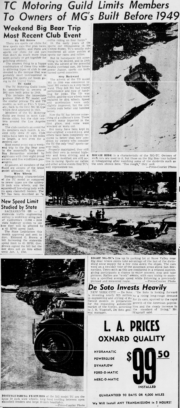 TCMG Big Bear Article 1959